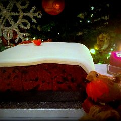 A Christmas cake with royal icing, marzipan and a robin