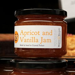 A jar of apricot and vanilla jam