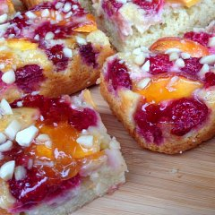 Melba slices, with peaches and raspberries