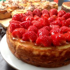 Strawberry and clotted cream cheesecake