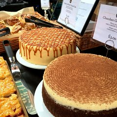 Apple and salted caramel cake, and chocolate Guinness cake