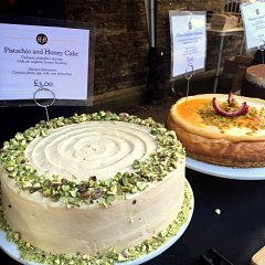 Pistachio and honey cake, and white chocolate cheesecake