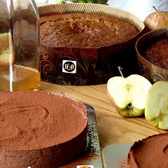 Torte, apple cakes, and a bottle of medlar syrup