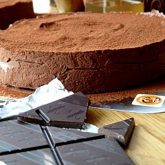 A chocolate torte, made with Fairtrade 70% dark chocolate