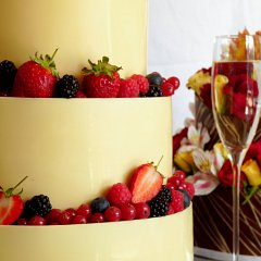 Wedding cakes and champagne