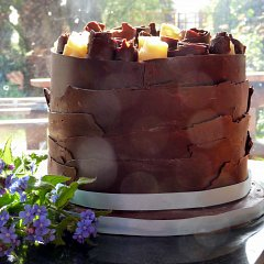 A Brett & Bailey chocolate wedding cake with chocolate roses