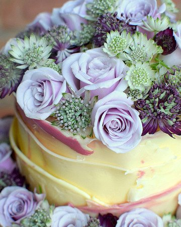 Floral chocolate wedding cake close-up