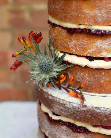 Floral Victoria sponge tower close-up